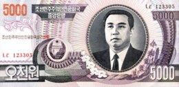 North Korea 5.000 Won, P-48D/Not Listed (2006) - UNC - Scarce Overprint: 60 Years DPRK - Korea (Nord-)