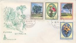 Italia Italy 1966 FDC CAPITOLIUM Flora Italiana Pino Garofano Margherita Olivo Pine Carnation Daisy Olive Tree - Flora