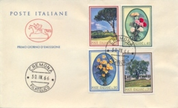 Italia Italy 1966 FDC CAVALLINO Flora Italiana Pino Garofano Margherita Olivo Pine Carnation Daisy Olive Tree - Flora