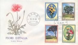 Italia Italy 1966 FDC RODIA Flora Italiana Pino Garofano Margherita Olivo Pine Carnation Daisy Olive Tree - Flora