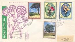 Italia Italy 1966 FDC VENETIA Viaggiata Flora Italiana Pino Garofano Margherita Olivo Pine Carnation Daisy Olive Tree - Flora
