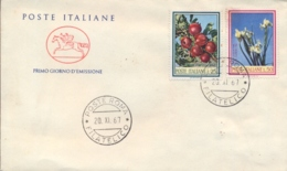 Italia Italy 1967 FDC CAVALLINO Flora Italiana Melo Iris Florentina Apples Florentine Iris - Flora