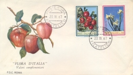 Italia Italy 1967 FDC ROMA Flora Italiana Melo Iris Florentina Apples Florentine Iris - Flora
