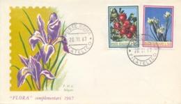Italia Italy 1967 FDC SILIGATO Flora Italiana Melo Iris Florentina Apples Florentine Iris - Flora