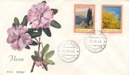 Italia Italy 1968 FDC ROMA Flora Italiana Cipresso Ginestra Cypress Juniper - Flora