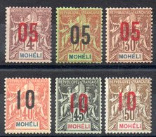 MOHELI - YT N° 17 à 22 - Neufs * - MH - Cote: 16,50 € - Mohéli (1906-1912)