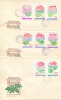 Romania 1968 FDC Flowers Geraniums On 3 Covers - Flora