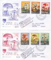 San Marino 1967 FDC CAPITOLIUM Viaggiate Funghi Su 2 Buste Mushrooms On 2 Posted Covers - Pilze