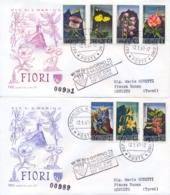 San Marino 1967 FDC CAPITOLIUM Viaggiate Fiori Su 2 Buste Flowers On 2 Posted Covers - Flora