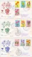 San Marino 1971 FDC CAPITOLIUM Viaggiate Fiori Su 3 Buste Flowers On 3 Posted Covers - Flora