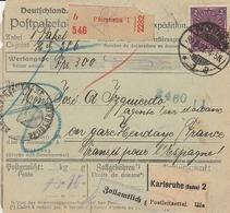 DR INFLA 1922 PAKETKARTE BULLETIN D EXPEDITION  PFORZHEIM  PK60 - Deutschland