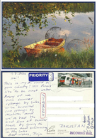 SUOMI FINLAND POSTAL USED AIRMAIL POSTCARD TO PAKISTAN  POST  CARD METRO TRAIN 2 PIN HOLE - Airmail