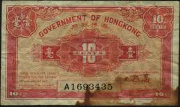 HONG KONG - 10 Cents Nd.(1941) {serial# Prefix A} VG P.315 B - Hong Kong