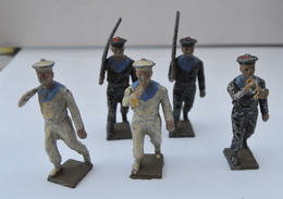 LOT DE CINQ FUSILLERS MARINS  En  état D'origine à Restaurer Voir Photos - Soldats De Plomb