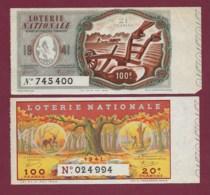 150819B - 2 BILLET LOTERIE NATIONALE 1941 100 FRANCS 20 21ème TR - Forêt Bois Bûcheron Cerf Biche Labour Charrue Paysan - Lottery Tickets