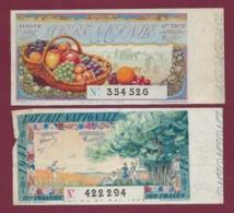 150819B - 2 BILLET LOTERIE NATIONALE 1941 100 FRANCS 12 17ème TR - Fruit Raisin Pomme Abricot Cerise - Biglietti Della Lotteria