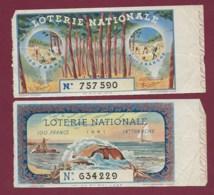 150819B - 2 BILLET LOTERIE NATIONALE 1941 100 FRANCS 13 14ème TR - Mer Voilier Coquillage Foot Tente Camping - Loterijbiljetten