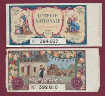 150819B - 2 BILLET LOTERIE NATIONALE 1941 100 FRANCS 9 11ème TR Meunier Moulin à Vent âne Rouet Fileuse Basse Cour Fruit - Lottery Tickets