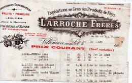 Villeneuve Sur Lot (47 Lot Et Garonne) Tarif LARROCHE Fr Fruits Légumes Pruneaux... 1923 (PPP19721) - Publicités
