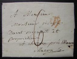 1814 Lettre Avec P Orange Et Date Au Tampon à L'arrière, Pour Joseph Davet à Charou Près Macon - 1801-1848: Precursori XIX