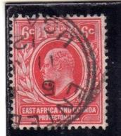 EAST AFRICA ORIENTALE & UGANDA PROTECTORATES 1912 1918 KING EDWARD VII RE EDOARDO CENT. 6c USATO USED OBLITERE' - Kenya, Uganda & Tanganyika