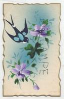 Dessin D'hirondelle Et Fleurs Violettes. - Oiseaux