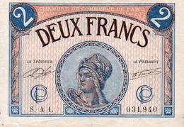 BILLET CHAMBRE DE COMMERCE PARIS - DEUX FRANCS - 1919 - Cámara De Comercio