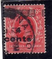 EAST AFRICA ORIENTALE & UGANDA PROTECTORATES 1919 KING GEORGE V RE GIORGIO SURCHARGED CENTS 4 On 6c USATO USED OBLITERE' - Kenya, Uganda & Tanganyika