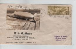 PR6728/ US Cover U.S.S Macon Leaving Lakehurst 1933 + Photo Dresel Commander U.S.Navy > Lakewood - Zeppelins
