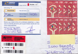 Argentina Registered Certificada Label 2014 Cover Letra BRØNDBY STRAND Denmark 10x Similar Stamps - Argentinien