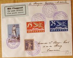 Schweiz Suisse 1924: RANGIERS Zu F 3+5 Mi 179+180 Yv PA 3+5 LA CAQUERELLE-LAUSANNE 31.8.1924 & Vignette (Zu CHF 59.00++) - Poste Aérienne
