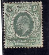 EAST AFRICA ORIENTALE & UGANDA PROTECTORATES 1903 KING EDWARD VII RE EDOARDO HALF ANNA 1/2a USATO USED OBLITERE' - Protectorados De África Oriental Y Uganda