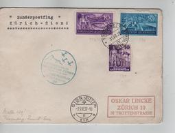 PR6729/ Liechtenstein Sonderpostflug Zürich-Sion 1937 C.Triesenberg 31/7/37 Via Sion > Zürich - Poste Aérienne