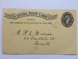 CANADA 1897 Stationary Card Cold Springs Ontario To Toronto - Briefe U. Dokumente