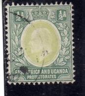 EAST AFRICA ORIENTALE & UGANDA PROTECTORATES 1904 1907 KING EDWARD VII RE EDOARDO HALF ANNA 1/2a USATO USED OBLITERE' - Kenya, Uganda & Tanganyika