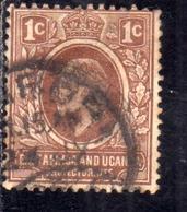 EAST AFRICA ORIENTALE & UGANDA PROTECTORATES 1907 1908 KING EDWARD VII RE EDOARDO 1c USATO USED OBLITERE' - Kenya, Uganda & Tanganyika