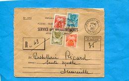 Marcophilie-lettre En Recouvrement N° 1494- R  Cad Lesparre Medoc-1957*  Taxée 42frs 4 Tp - Marcophilie (Lettres)
