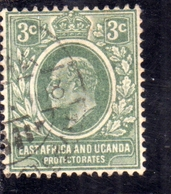 EAST AFRICA ORIENTALE & UGANDA PROTECTORATES 1907 1908 KING EDWARD VII RE EDOARDO 3c USATO USED OBLITERE' - Protectorados De África Oriental Y Uganda