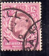 EAST AFRICA ORIENTALE & UGANDA PROTECTORATES 1907 1908 KING EDWARD VII RE EDOARDO 12c USATO USED OBLITERE' - Kenya, Uganda & Tanganyika