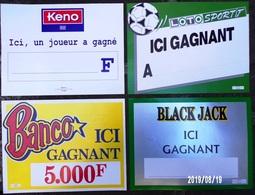 FDJ - F.D.J. FRANÇAISE DES JEUX PUBLICITÉ QUATRE AFFICHETTES PLV ICI GAGNANT : BANCO, BLACK JACK.. 40x30cm SITE Serbon63 - Publicités
