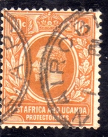 EAST AFRICA ORIENTALE & UGANDA PROTECTORATES 1912 1918 KING KING GEORGE V RE GIORGIO 10c USATO USED OBLITERE' - Kenya, Uganda & Tanganyika