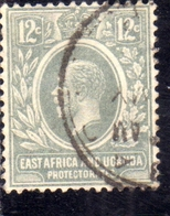 EAST AFRICA ORIENTALE & UGANDA PROTECTORATES 1912 1918 KING KING GEORGE V RE GIORGIO 12c USATO USED OBLITERE' - Kenya, Uganda & Tanganyika