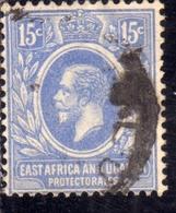 EAST AFRICA ORIENTALE & UGANDA PROTECTORATES 1912 1918 KING KING GEORGE V RE GIORGIO 15c USATO USED OBLITERE' - Kenya, Uganda & Tanganyika