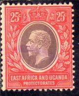 EAST AFRICA ORIENTALE & UGANDA PROTECTORATES 1912 1918 KING KING GEORGE V RE GIORGIO 25c USATO USED OBLITERE' - Kenya, Uganda & Tanganyika