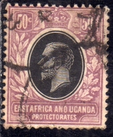 EAST AFRICA ORIENTALE & UGANDA PROTECTORATES 1912 1918 KING KING GEORGE V RE GIORGIO 50c USATO USED OBLITERE' - Kenya, Uganda & Tanganyika