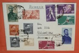 SPANIEN 1193 1195 1202-1203 1206 1208 Sport De Leon De Aviles Entdecker Cadiz 07.02.1961 -- Brief Cover (2 Foto)(37833) - 1931-Heute: 2. Rep. - ... Juan Carlos I