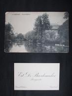 LOT CP ET CARTE DE VISITE (M1911) RUYSBROECK RUISBROEK (4 Vues) Grand Château + CDV DE BAERDEMACKER Bourgmestre - Sint-Pieters-Leeuw