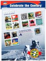 USA 1999 R MNH Sheet Celebrate The Century 1960 No 7 Sport American Football Baseball Space Moonlanding Beatles Mustang - Honkbal