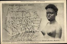 Landkarten Cp Elfenbeinküste, Haut Sénégal Et Niger, Cote D'Ivoire, Barbusig - Südafrika