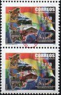 Bolivia 2018 ** CEFIBOL2357 (2015 #2256) DS 29799 ATT: Felino, Mapa, Balsa, Cristo. Par Vert. Habilitación Desplazada. - Bolivia